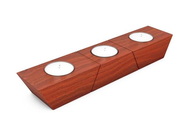 Trzy świece zapachowe stojące na stojaku drewnianym panelu na białym tle. renderowanie 3d