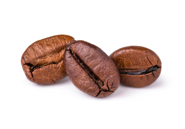 Trzy świeżo palone ciemnobrązowe ziarna kawy arabica