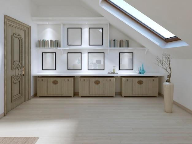 Trzy szuflady i półki z książkami w sypialni w nowoczesnym stylu. renderowania 3d.