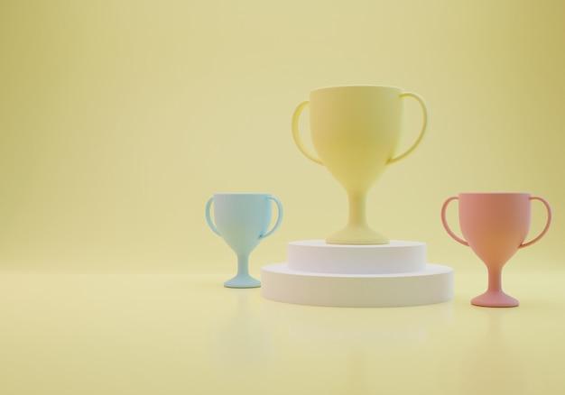 Trzy trofea na białym tle żółte tło