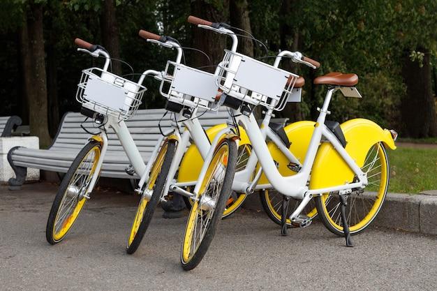 Trzy wypożyczalnie rowerów w parku.