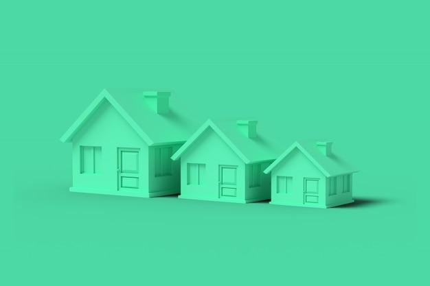 Trzy zielone puste domy na zielono