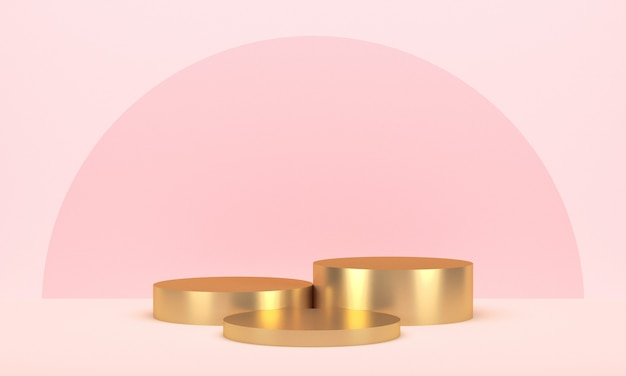 Trzy złote okrągłe wyświetlacze produktu w kolorze różowym