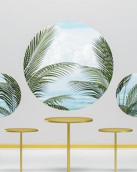 Trzy złote podium stoi na białym tle do lokowania produktu z błękitnym niebem i oceanem oraz drzewami tropikalnymi renderowania 3d