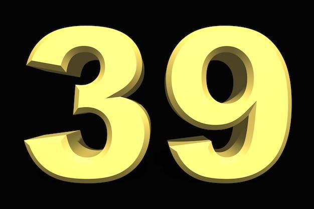 39 trzydzieści dziewięć numer 3d niebieski na ciemnym tle