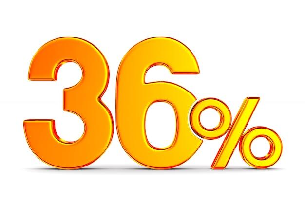 Trzydzieści sześć procent na białej przestrzeni. ilustracja na białym tle 3d