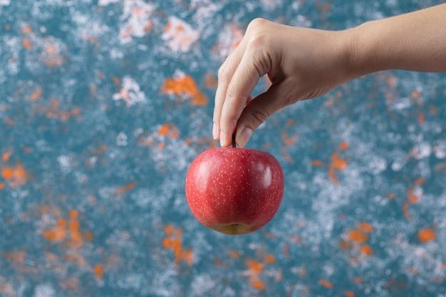 Trzyma czerwone jabłko z łodygi