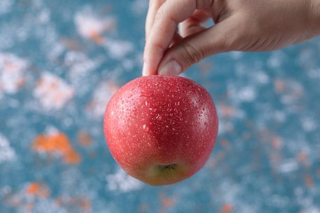 Trzymając czerwone jabłko z łodygi