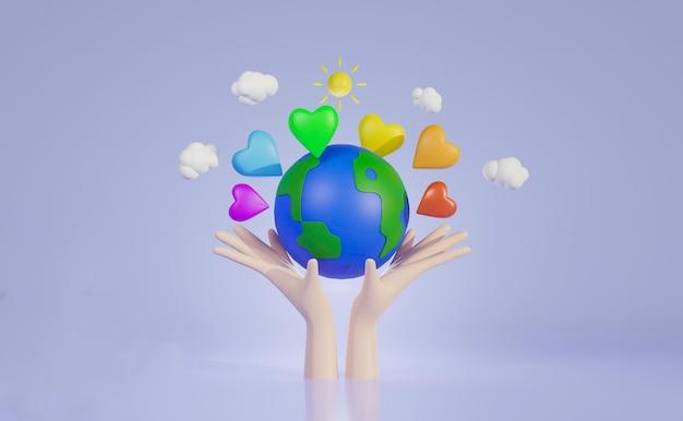 Trzymając się za ręce świat z kolorowym sercem, światowy dzień serca