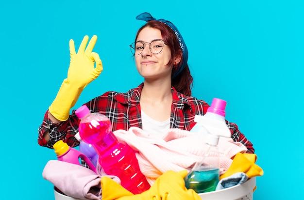 Tty dziewczyna gospodyni pranie ubrań