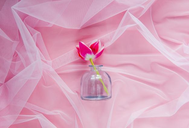 Tulipan i szklana butelka na różowym tiulu. naturalne światło
