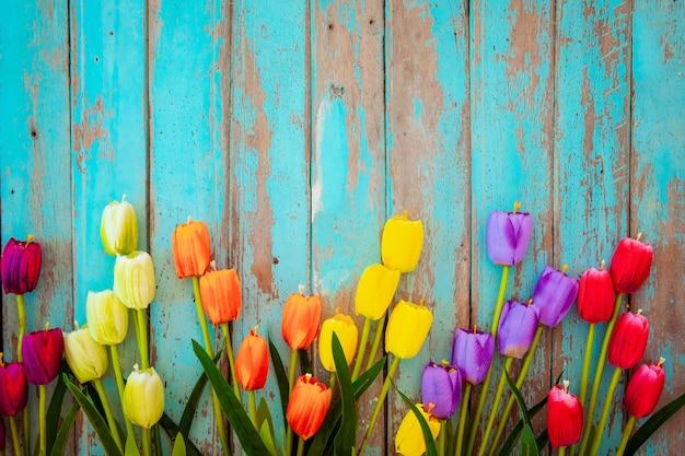 Tulipanowy okwitnięcie kwitnie na rocznika drewnianym tle