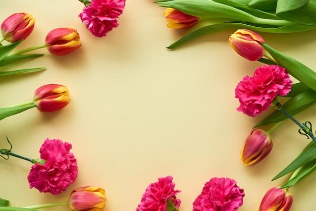 Tulipany i goździki na świetle