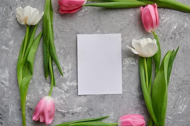 Tulipany ramki i karty z pozdrowieniami na szarym tle grunge. kwitnące wiosenne kwiaty, świeża dekoracja kwiatowa, zielona świeżość, romantyczny prezent