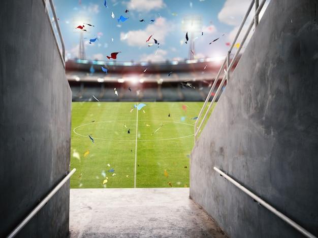 Tunel areny renderowania 3d z boiskiem do piłki nożnej