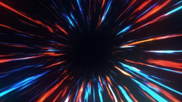 Tunel czasoprzestrzenny we właściwym czasie i przestrzeni, chmury i miliony gwiazd. przyspieszenie bezpośrednio przez ten naukowy tunel czasoprzestrzenny wraz z przestrzenią. 3d ilustracji