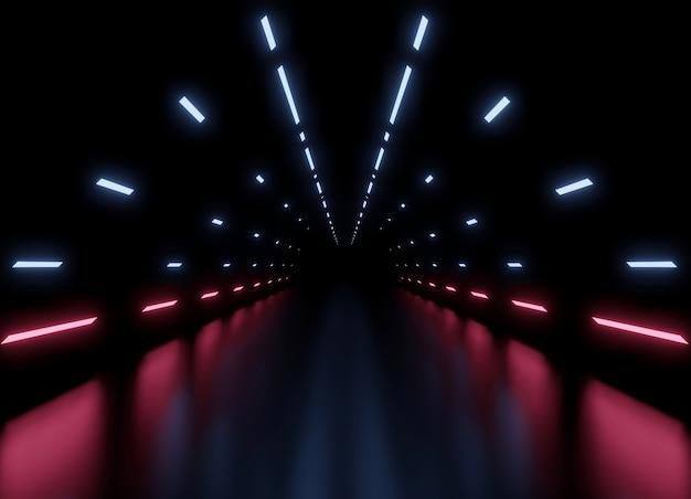 Tunel renderingu 3d statek kosmiczny ciemnoniebieskie i różowe tło wewnętrzne