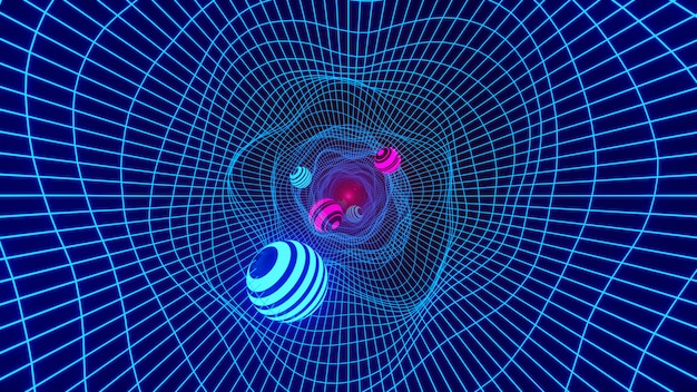 Tunel tunelowy pętli. osnowa w tunelu hiperprzestrzeni dziury w przestrzeni naukowej. renderowania 3d