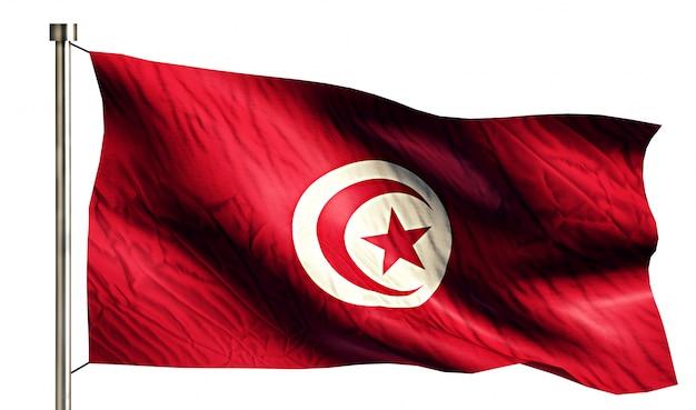 Tunezja flaga narodowa pojedyncze 3d białe tło