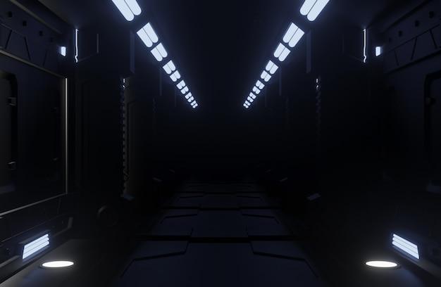 Tunnel spaceship ciemne wnętrze, korytarz