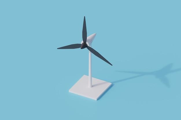 Turbina wiatrowa pojedynczy izolowany obiekt. 3d render ilustracji izometryczny