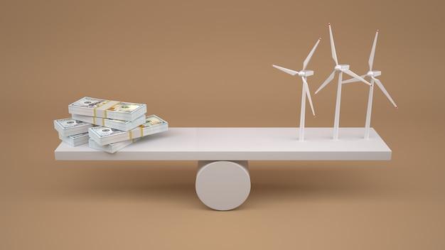 Turbiny wiatrowe i pieniądze w skali bilansowej.