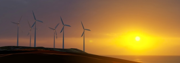 Turbiny wiatrowe wytwarzają energię elektryczną o zachodzie słońca - renderowanie 3d
