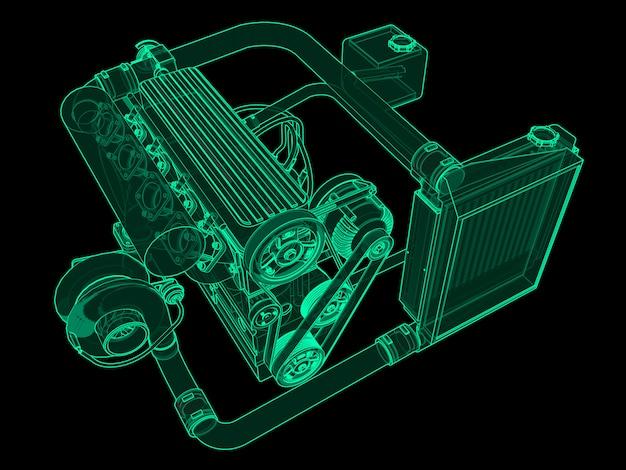 Turbodoładowany czterocylindrowy silnik o wysokiej wydajności do samochodu sportowego zielony neon świecący na czarno