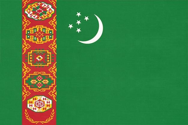 Turkmenistan flagi narodowej tkaniny tekstylne tło, symbol świata azjatyckiego kraju