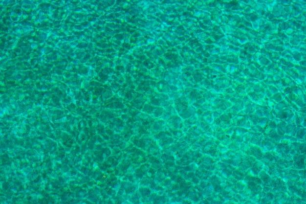 Turkusowa powierzchnia wody z odbiciem słońca.