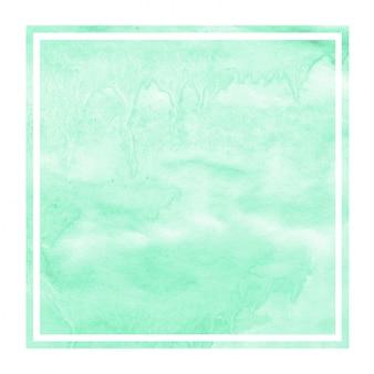 Turkusowa ręka rysująca akwareli tła prostokątna ramowa tekstura z plamami
