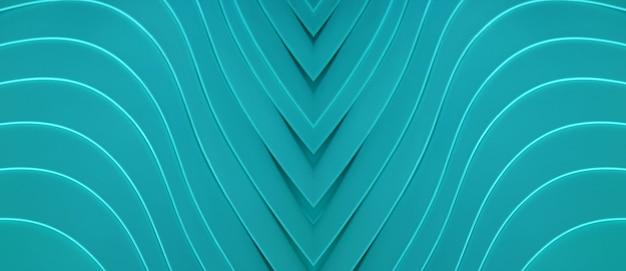 Turkusowe niebieskie artystyczne zakrzywione linie dla abstrakcyjnego tła lub banera