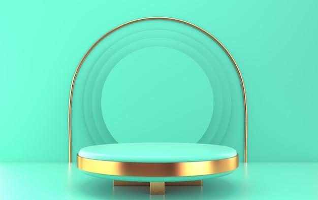 Turkusowe tło studyjne, turkusowa okrągła platforma ze złotymi detalami, renderowanie 3d, scena z formami geometrycznymi, minimalne abstrakcyjne tło, minimalistyczny portal ze złotymi detalami