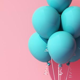 Turkusowy niebieski balon na różowo