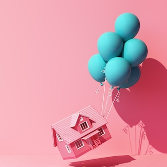Turkusowy niebieski balonik związany z domem i ciągnący go na różowo