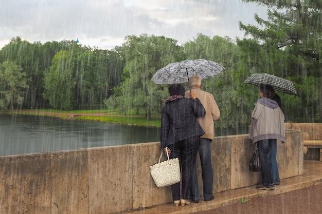 Turyści w deszczu. ludzie z parasolami stoją i patrzą z mostu.