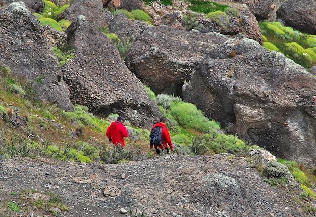 Turyści w parku narodowym torres del paine, patagonia, chile