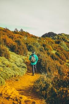 Turysta idąc przez naturę