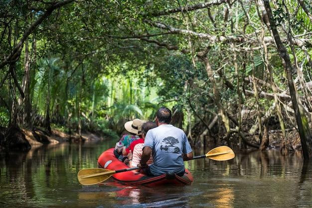 Turysta na kajaku odwiedza little amazon lub sang nae canal, aby zobaczyć ukryty las banyan tree, ptak, wąż, varanus salvator wzdłuż rzeki w phang nga w tajlandii. słynna podróż na łonie natury.