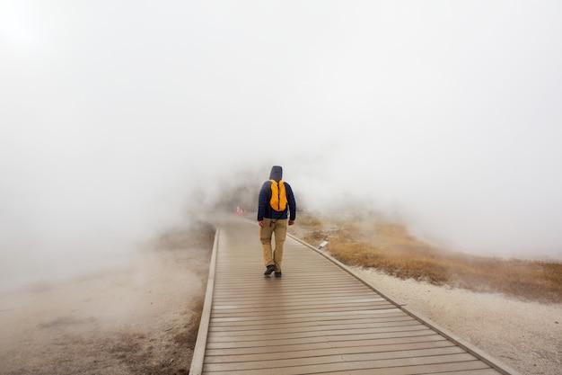 Turysta w parku narodowym yellowstone w usa