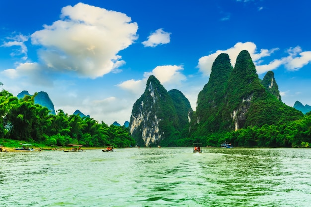 Turystyka lijiang bambus wody asian china