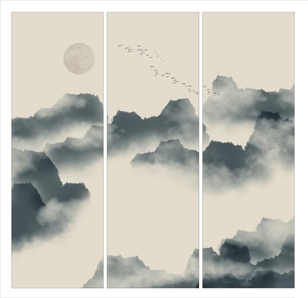 Tusz okólnik szkic chmur statku