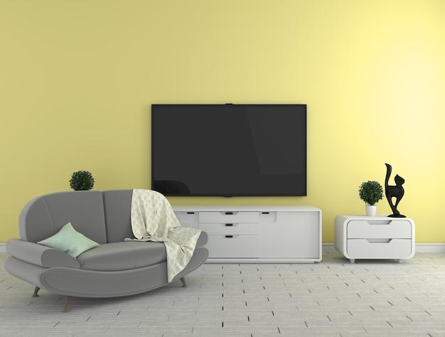 Tv na gabinecie - kolorowy żywy pokój na kolor żółty ściany tle - kolorowy styl, 3d rend