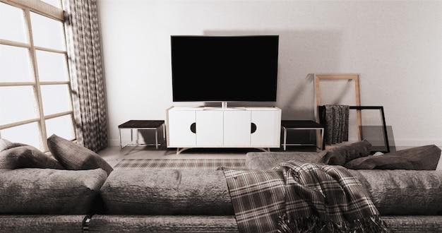 Tv na gabinecie w nowożytnym żywym pokoju na biel ściany tle