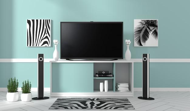 Tv na gabinecie w nowożytnym żywym pokoju na błękit ściany tle, 3d rendering