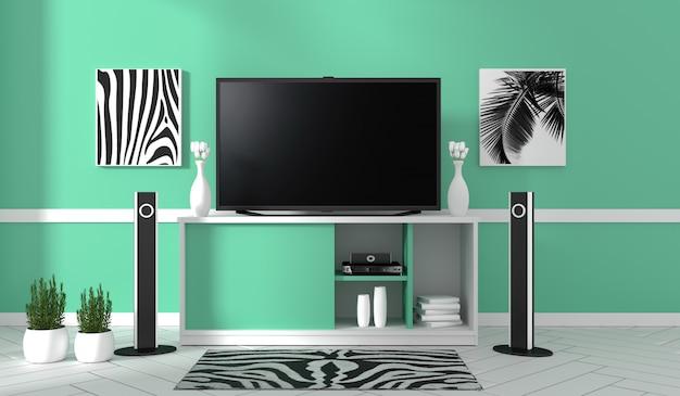 Tv na gabinecie w nowożytnym żywym pokoju na nowym ściennym tle, 3d rendering