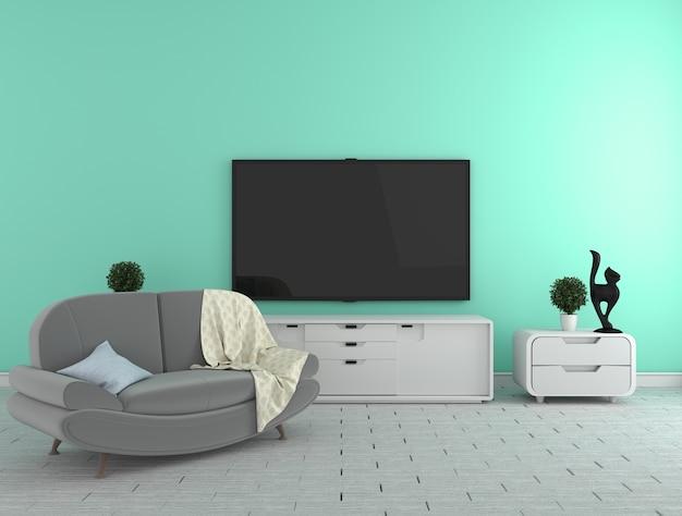 Tv na szafce - nowoczesny salon na tle ściany mięty - kolorowy stylle, 3d rende