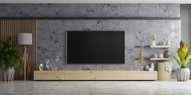Tv na szafce w nowoczesnym salonie marmurowa ściana. renderowanie 3d