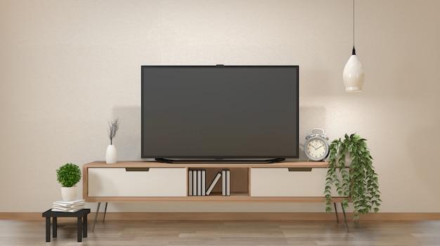 Tv na szafce w salonie zen z lampą, stołem, szafką i roślinami .3d rendering