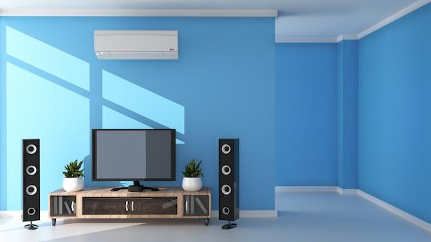 Tv nowoczesny salon na jasnoniebieskim tle ściany. renderowania 3d